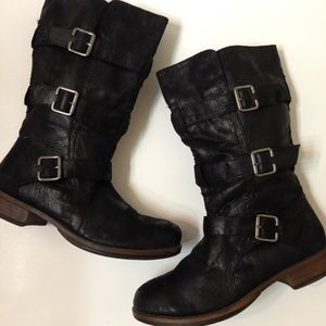 "Y.Not?| black buckled ""Franklin"" mid-calf boots"